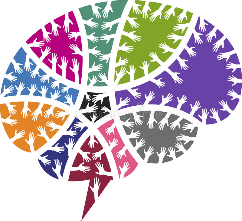 Мозг вручает логотип иллюстрация вектора