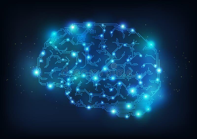 мозг Высок-техника иллюстрация вектора