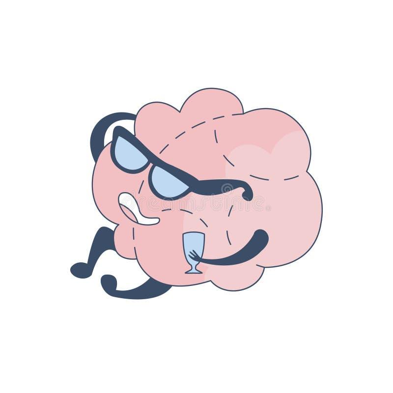 Мозг в стеклах читая лекцию при комический персонаж бокала вина представляя интеллект и интеллектуальную деятельность  иллюстрация вектора