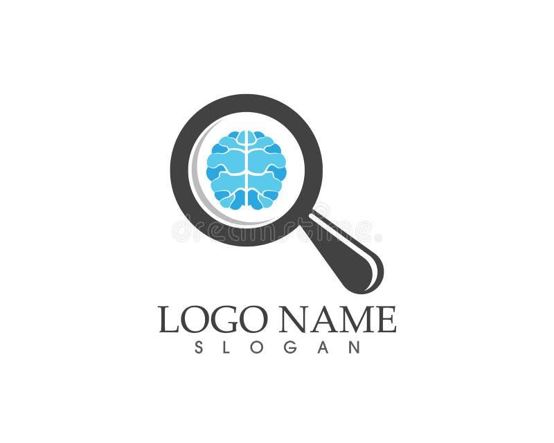 Мозг здоровья ища иллюстрацию вектора логотипа иллюстрация вектора