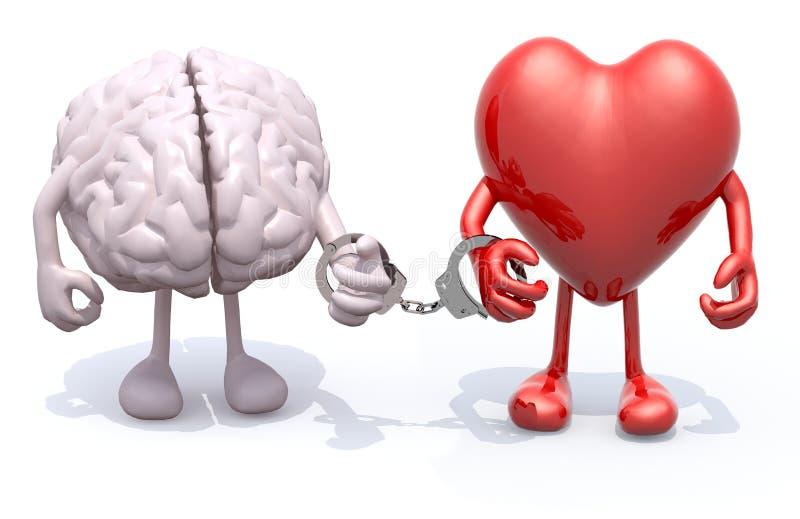 Мозг и сердце с оружиями и ногами соединили наручниками в наличии иллюстрация штока