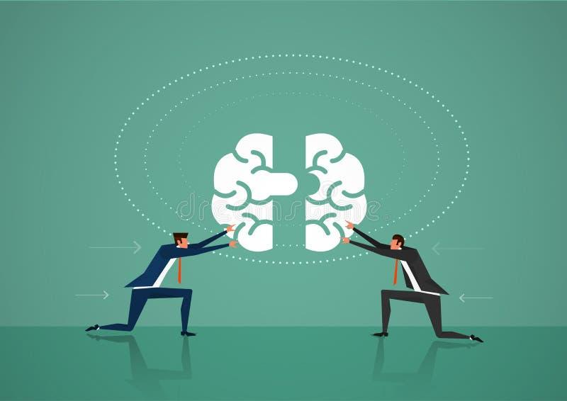 Мозг нажима 2 бизнесменов для концепции связи, идеи, знания, сыгранности и образования Плоский дизайн иллюстрация иллюстрация вектора