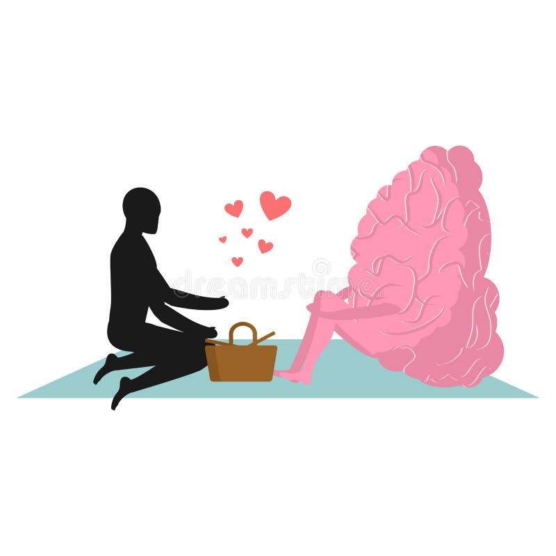 Мозг на пикнике Дата в парке Разум и eople Сельский любовник прогулки иллюстрация вектора