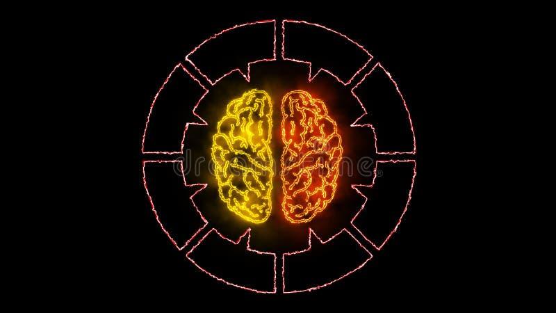 Мозг 006 - неон Infographic 4K иллюстрация вектора