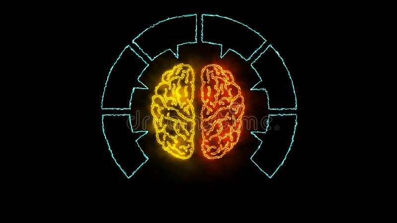 Мозг 002 - неон Infographic 4K бесплатная иллюстрация