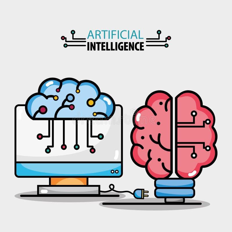Мозг обходит вокруг искусственный интеллект и компьютерную технологию иллюстрация штока