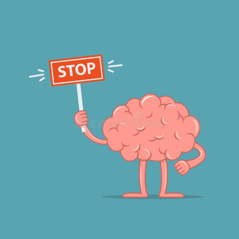 Мозг персонажа из мультфильма держа знак стопа Дизайн концепции мозг противоречит бесплатная иллюстрация