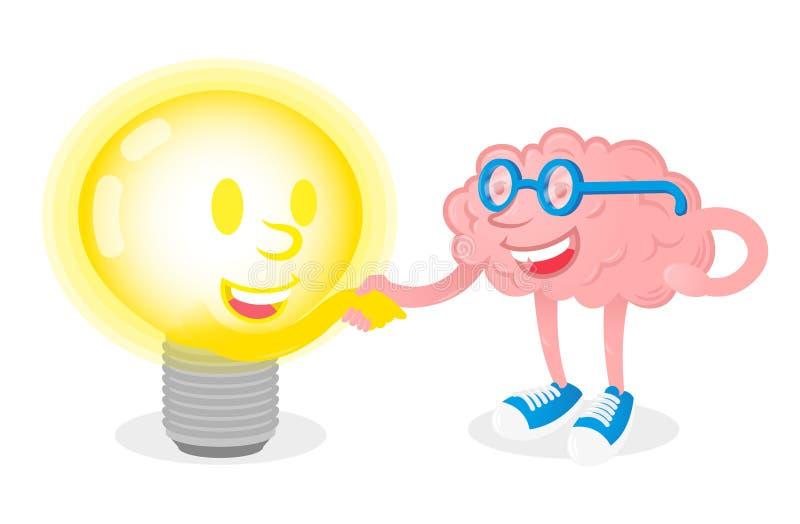 Мозг приятельства с лампой иллюстрация вектора