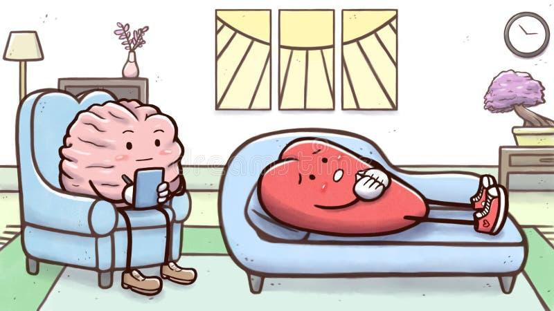 Мозг психолога в терапевтической сессии с терпеливым сердцем на кресле иллюстрация вектора
