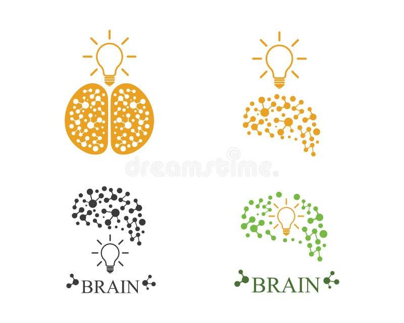 Мозг с вектором логотипа значка шарика идеи и думать бесплатная иллюстрация