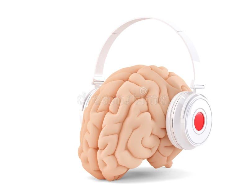 Мозг с наушниками Путь клиппирования Cotains бесплатная иллюстрация