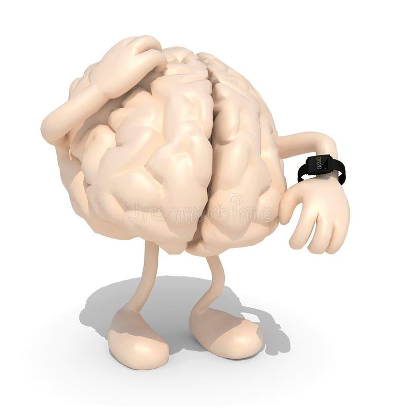 Мозг с оружиями, ногами и вахтой иллюстрация штока