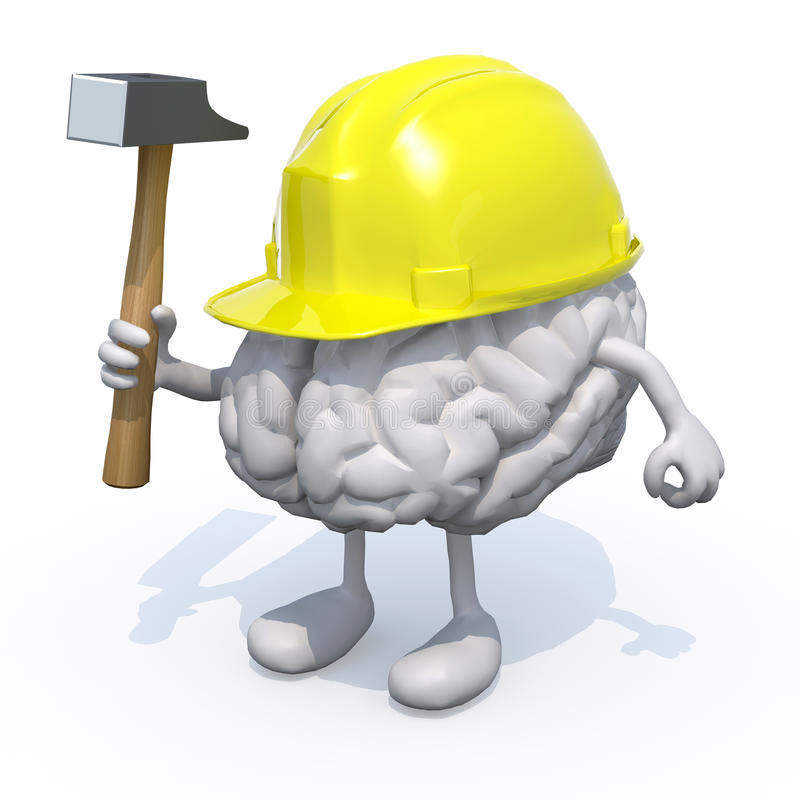 Мозг с оружиями, ногами, шлемом работы и бьет молотком в наличии бесплатная иллюстрация