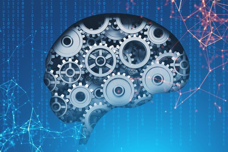 Мозг с шестернями, концепция ai бесплатная иллюстрация