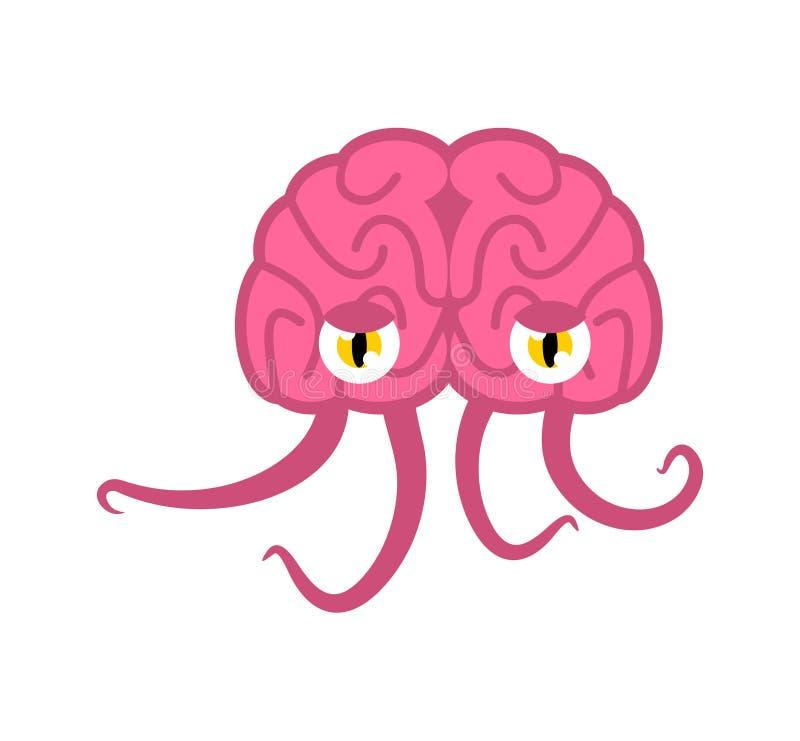 Мозг с щупальцами оккупант космоса чудовища чужеземец паразита от космоса иллюстрация вектора