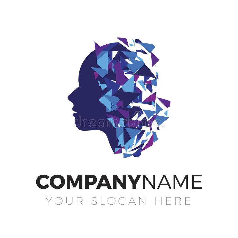 Мозг, творческий разум, логотип иллюстрация штока