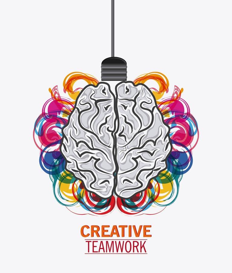 Мозг творческой концепции сыгранности иллюстрация вектора