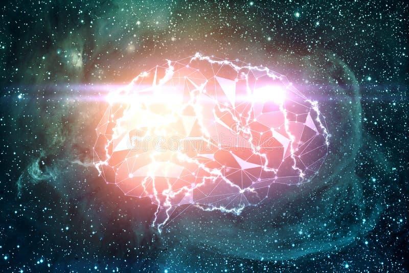 Мозг цифров в космосе иллюстрация штока