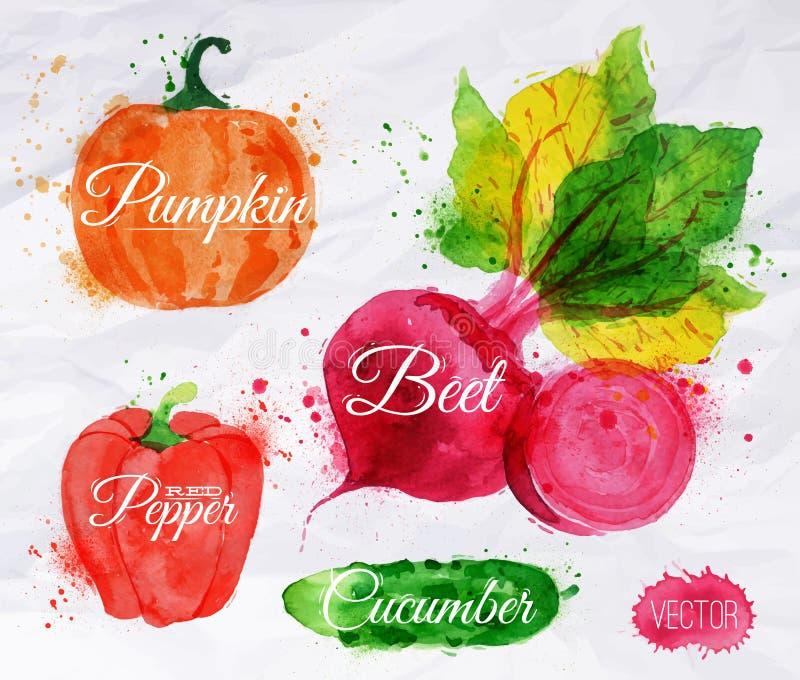 Мозоль акварели овощей, брокколи, chili, стоковые фотографии rf