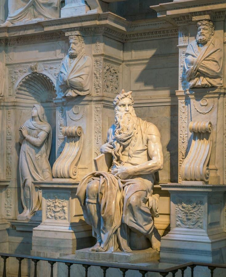 Моисей от Микеланджело, в церков Сан Pietro в Vincoli в Риме, Италия стоковое изображение rf