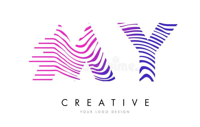 МОИ линии дизайн зебры m y логотипа письма с magenta цветами бесплатная иллюстрация