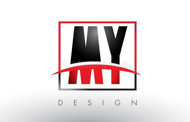 МОИ письма логотипа m y с красными и черными цветами и Swoosh бесплатная иллюстрация
