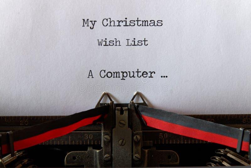 Мой список целей рождества, старый стиль компьютер стоковое изображение rf
