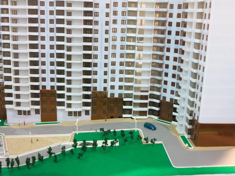 10 10 2015, МОЛДАВИЯ, выставка недвижимости, деталь модель-макета стоковые фото