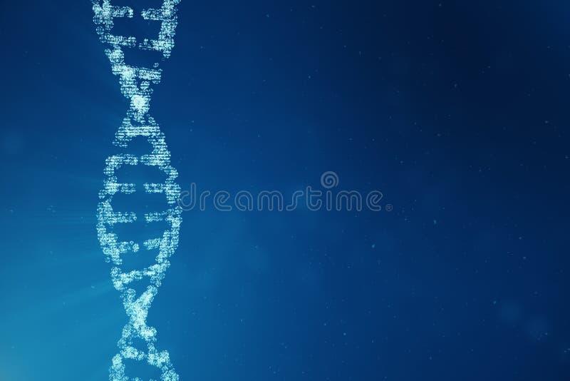 Молекула дна цифров, структура Человеческий геном бинарного кода концепции Молекула дна с доработанными генами иллюстрация 3d стоковые фотографии rf