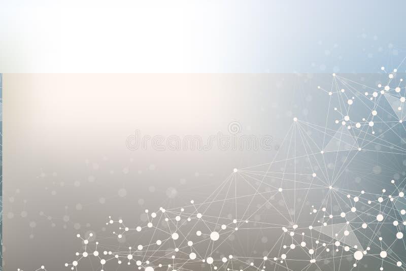 Молекула и связь структуры Дна, атом, нейроны Научная концепция для вашего дизайна Соединенные линии с точками иллюстрация штока