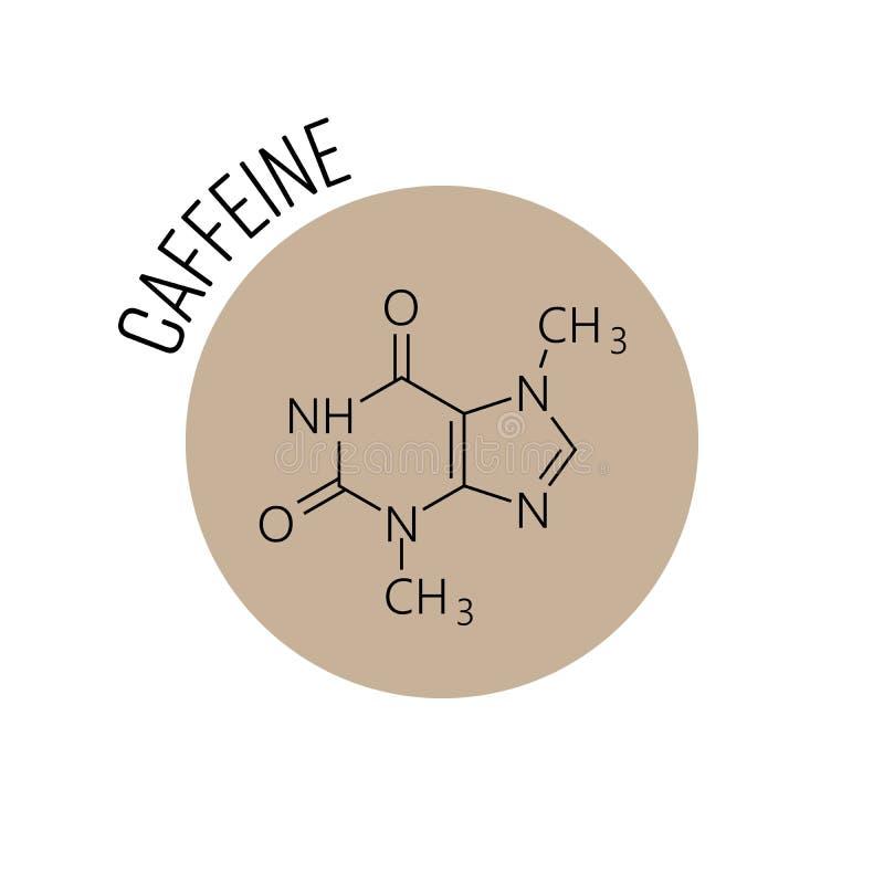 Молекула кофеина Химическая скелетная формула конструировала в бежевом круге как значок Кафе, тема кофе или логотип вектор иллюстрация вектора