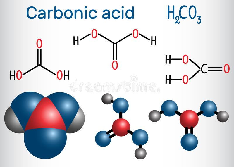 Молекула угольной кислоты H2CO3 Также решение углерода иллюстрация вектора