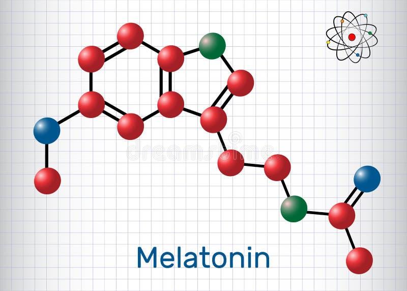 Молекула Melatonin, инкреть сна Атомы представлены как sphe бесплатная иллюстрация