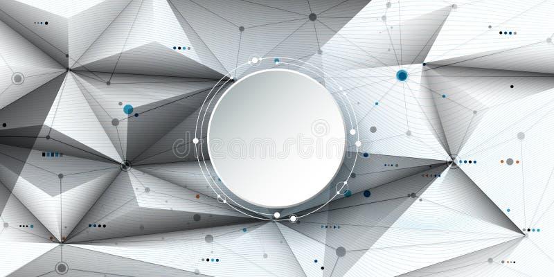 Молекулы и связь конспекта иллюстрации вектора, социальная концепция технологии средств массовой информации с кругами ярлыка бума бесплатная иллюстрация