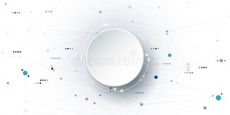 Молекулы конспекта иллюстрации вектора и сообщение, социальная концепция технологии средств массовой информации иллюстрация штока