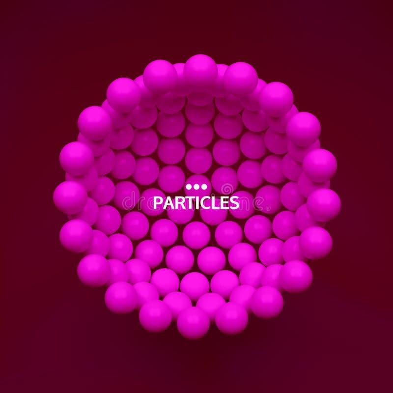 Молекулярная структура со сферически частицами Научная предпосылка o иллюстрация вектора 3D для дизайна иллюстрация штока