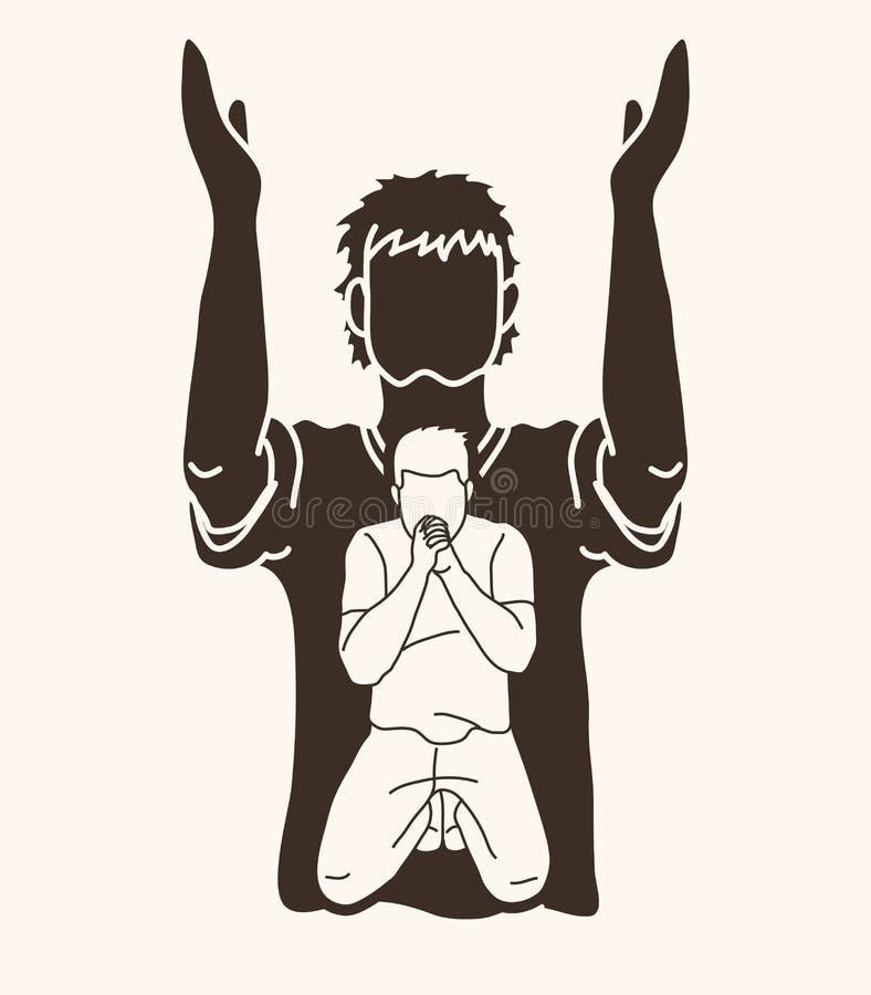 Молитва, Кристиан моля, бог хваления, график мультфильма поклонению иллюстрация штока