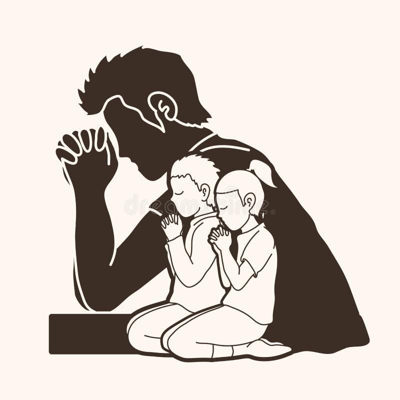 Молитва, Кристиан моля, бог хваления, график мультфильма поклонению иллюстрация вектора