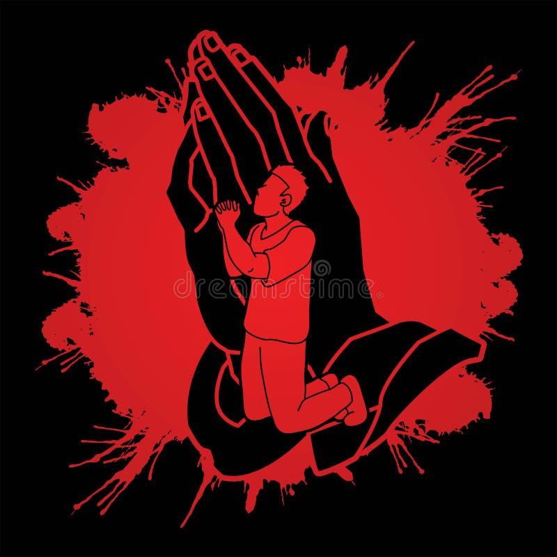 Молитва, Кристиан моля, бог хваления, график мультфильма поклонению бесплатная иллюстрация