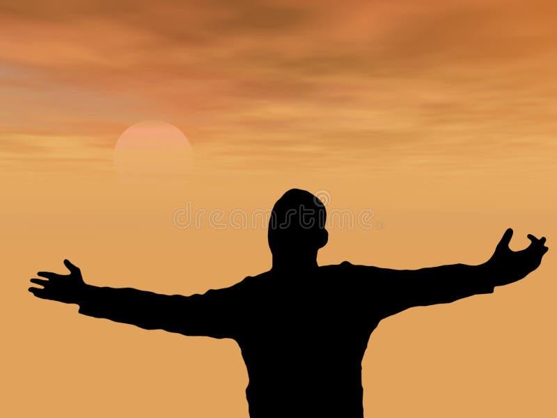 молить человека иллюстрация вектора