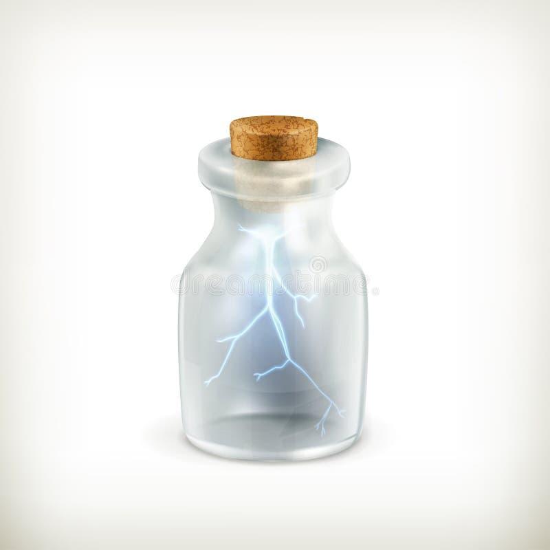 Молния в бутылке, икона иллюстрация вектора
