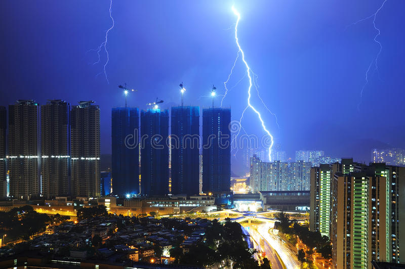 Молния города стоковые фотографии rf