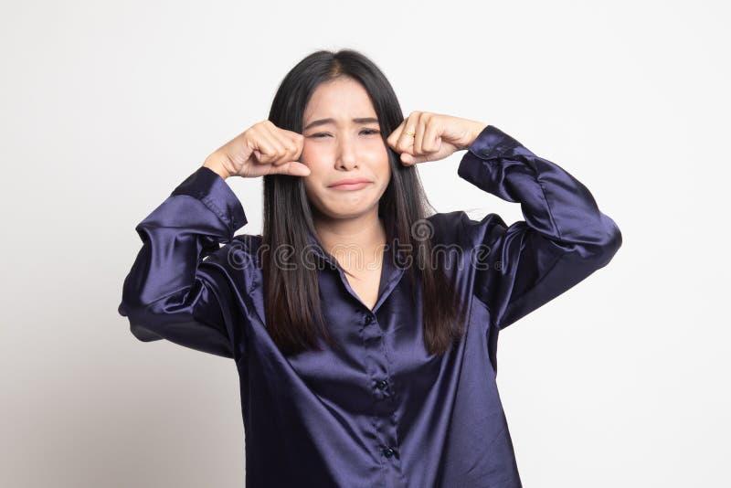 Молодая азиатская женщина грустная и выкрик стоковое изображение rf