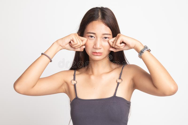 Молодая азиатская женщина грустная и выкрик стоковые изображения rf