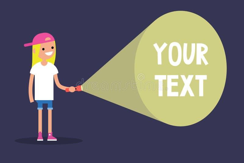 Молодая белокурая девушка держа электрофонарь Ваше здесь текста/плоско edi иллюстрация штока