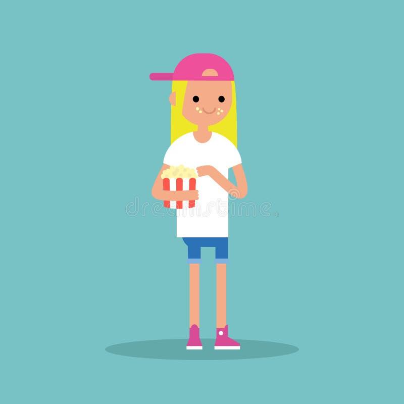 Молодая белокурая девушка жуя попкорн/во всю длину характер Плоский v бесплатная иллюстрация
