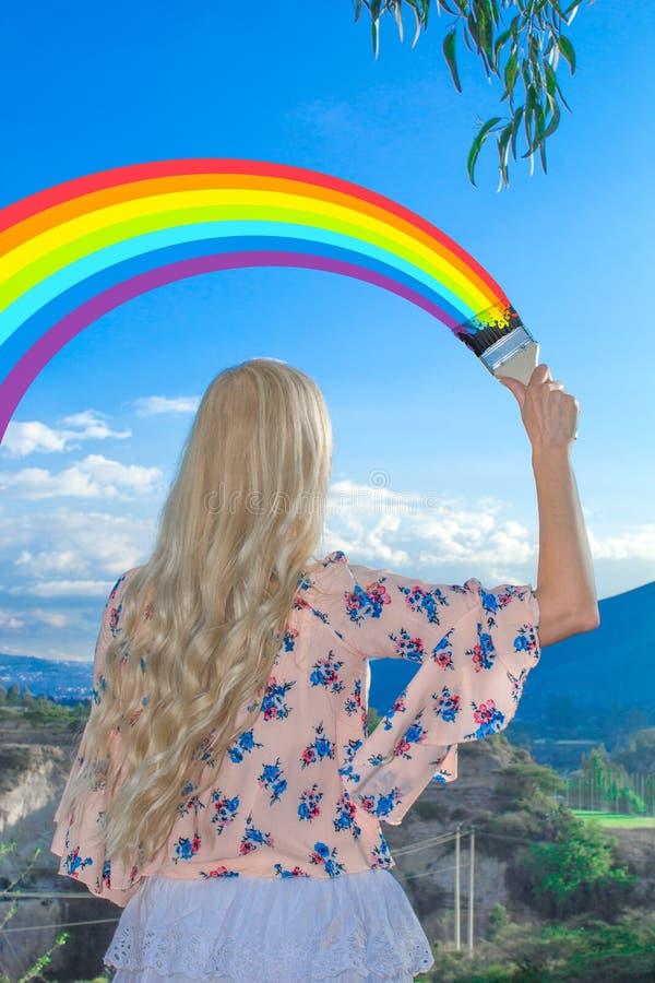 может быть человек раскрашивает радугу на небе картинка настоящее