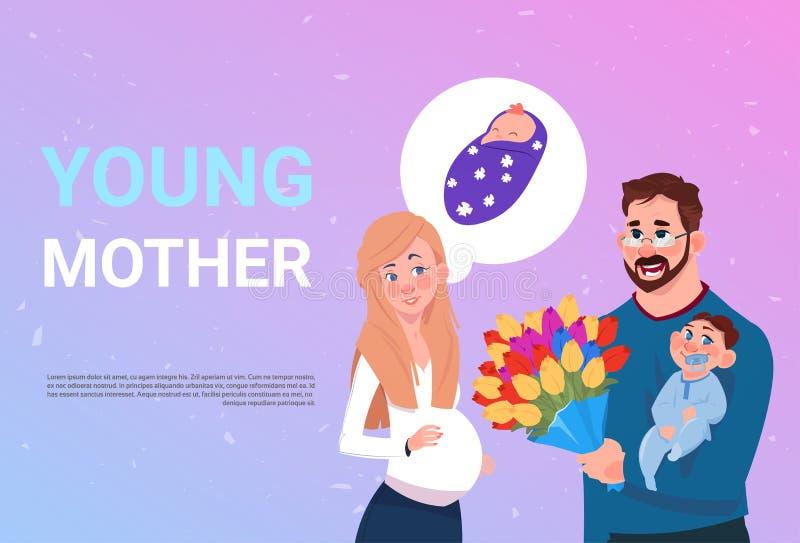 Молодая беременная женщина матери при супруг держа цветки и малый сына над предпосылкой с космосом экземпляра иллюстрация вектора