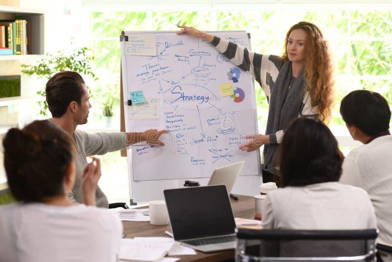 Молодая бизнес-леди давая представление на планах на будущее стоковое фото