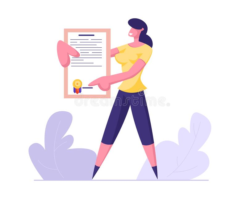 Молодая бизнес-леди держа сертификат полиса страхования с печатью уплотнения Защита интересов здоровья и свойства бесплатная иллюстрация